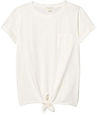 crewcuts by J.Crew Tie Front Tee (Toddler/Little Kids/Big Kids) (Ivory) Girl's Clothing