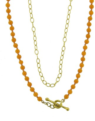 Cathy Waterman 17 Inch Coral Bead and Chain Necklace - Yellow Gold