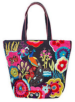 Jesselli Couture As Is Peacock Embroidered Cotton Tote