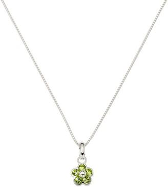 "Sterling Silver Flower Gemstone Pendant w/16"" Necklace"