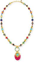 Jose & Maria Barrera Beaded Multicolor Doorknocker Pendant Necklace