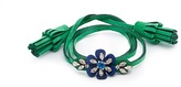 Shourouk Crystal-embellished flower alcantara bracelet