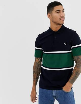Fred Perry stripe polo in green