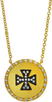 Freida Rothman Crystal Maltese Cross Shield Pendant Necklace