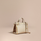Burberry The Medium Banner in Leather with Check and Metallic Detail