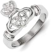 Celtic Sterling Silver CZ Claddagh Ring