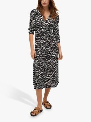 MANGO Pomelo Crinkled Floral Midi Dress, Black/White