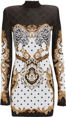 Balmain Baroque Knit Jacquard Mini Dress