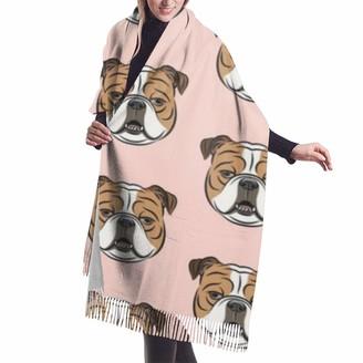 Best Gift Bulldogs Pink British Bulldog Unisex Large Lightweight Soft Silky Cashmere Shawl Wrap Scarf 77x27 inch
