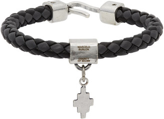 Marcelo Burlon County of Milan Black and Grey Braided Leather Cross Bracelet