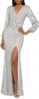 Xscape Evenings Sequin Long Sleeve Gown