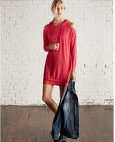 Express cold shoulder hooded sweatshirt dress