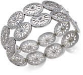 Thalia Sodi Silver-Tone Crystal Filigree Disc Stretch Bracelet, Created for Macy's