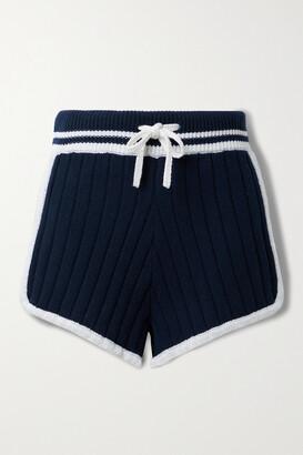 rag & bone - Serena Striped Ribbed-knit Shorts - Blue