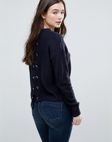 Brave Soul Eyelet Tie Back Sweater
