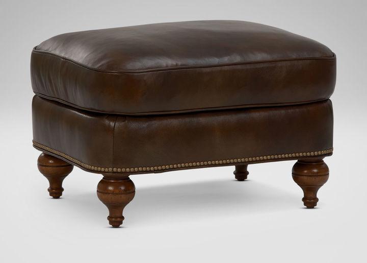Ethan Allen Shawe Leather Ottoman