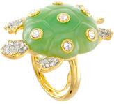 Kenneth Jay Lane FINE JEWELRY KJL by Green Enamel & Crystal Turtle Ring