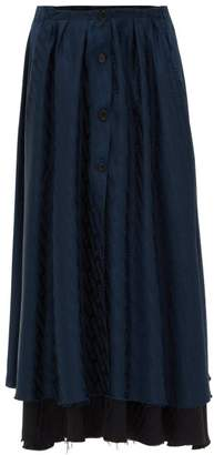Vetements Transformer Double-layer Jacquard Satin Skirt - Womens - Navy