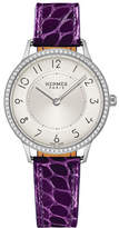Hermes Slim d'Hermès Watch with Diamonds & Currant Alligator Strap