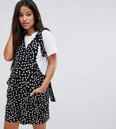 Asos Overall Romper with Strapping Detail in Polka Dot