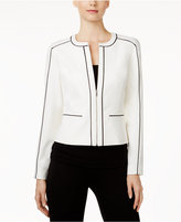 Calvin Klein Petite Piped-Trim Jacket