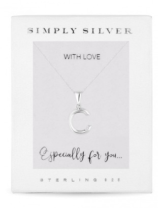 Simply Silver Sterling Silver 925 Polished Alphabet C Pendant
