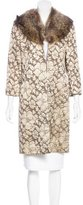 Bloomingdale's Fur Trimmed Brocade coat