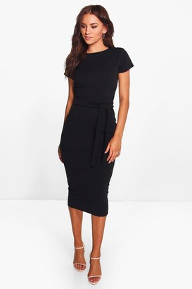 boohoo Pleat Front Belted Tailored Midi Dress
