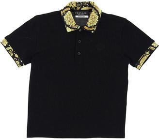 Versace Boy's Baroque-Trim Short-Sleeve Polo Shirt, Size 4-6