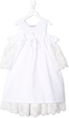Alberta Ferretti Kids Off-Shoulder Crochet Dress