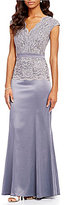 Sangria Surplice Lace Mock Two Piece Gown