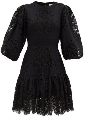 Borgo de Nor Tabitha Open-back Lace-panel Poplin Mini Dress - Black