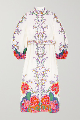 Zimmermann The Lovestruck Belted Paisley-print Linen Midi Dress