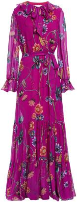 Borgo de Nor Anna Pussy-bow Floral-print Silk-georgette Maxi Dress