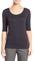 BOSS Women's Scoop Neck Stretch Jersey Top