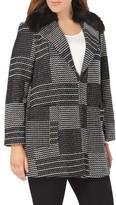 Evans Plus Size Women's Square Jacquard Coat With Faux Fur Collar