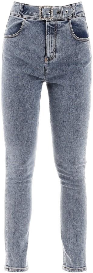 Alessandra Rich Belted Skinny Denim Jeans