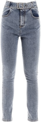 Alessandra Rich Belted Skinny Denim Jeans