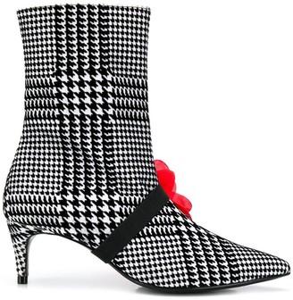 Leandra Medine Check Print Boots