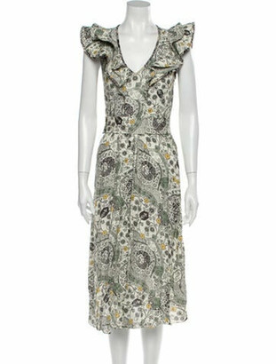 Etoile Isabel Marant Printed Midi Length Dress Grey