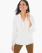 Chico's Pleated-Sleeve Peasant Top