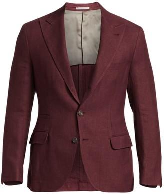 Brunello Cucinelli Solid Hopsack Wool, Silk & Linen Peak Lapel Blazer
