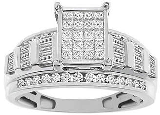 Modern Bride Womens 1 CT. T.W. Genuine White Diamond 10K White Gold Engagement Ring Family