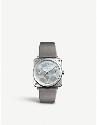 Bell & Ross BRSCAMOST Aviation steel and satin-leather watch, Mens, steel