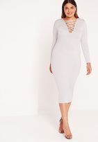Missguided Plus Size Lace Up Dress Grey