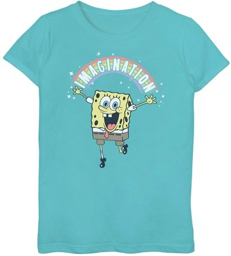 "SpongeBob Squarepants Licensed Character Girls' 7-16 Imagination"" Rainbow Tee"