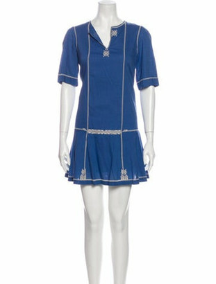 Etoile Isabel Marant V-Neck Mini Dress Blue