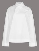 Autograph Pure Cotton Funnel Neck Long Sleeve Blouse