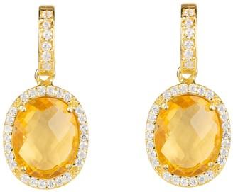 Latelita Beatrice Oval Gemstone Drop Earrings Gold Citrine Hydro