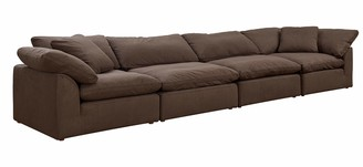 Sunset Trading Cloud Puff Sectional 4 Piece Slipcovered Modular Sofa | Couch with Removable Washable Performance Fabric Slipcovers | Configurable Low Profile Deep Seating